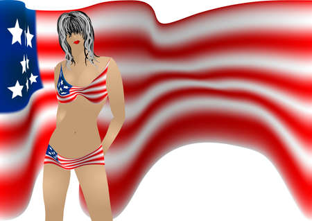 Girl in a patriotic bikini against the backdrop of the American flag Vector