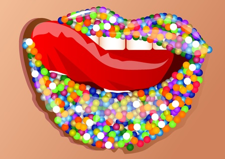 sprinkling: multi-colored sprinkles on a beautiful female lips