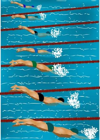swim race: piscina de competici�n entre los hombres de nataci�n