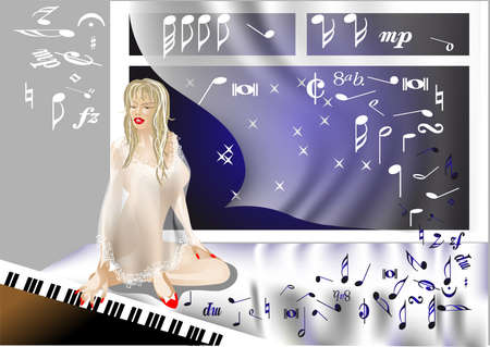 the girl at the piano surrounded by music Stock Vector - 14918437
