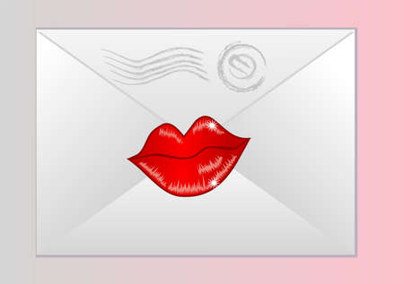 an envelope the sealed with red lips Stock Vector - 14918427
