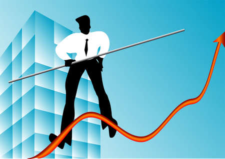 concept of business growth  rope walker and graphic Vector