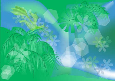 tropical illustration  abstract floral background  Vector