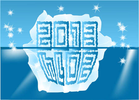 New Year sign on an iceberg 2013-2014 Stock Vector - 15026564