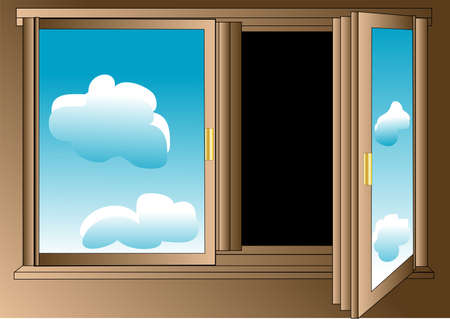 pessimist: Pessimist s window with blue sky on the glass and darkness outside  Illustration