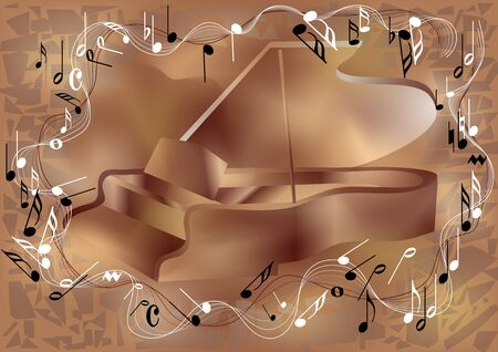 Piano and notes  Abstract musical background
