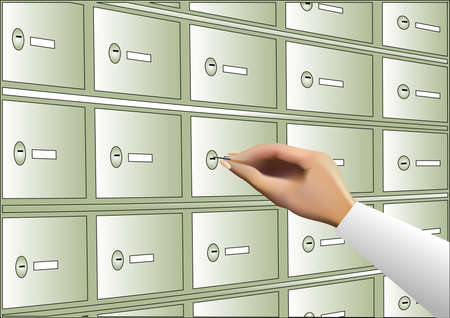 human hand opening deposit box with key Vector