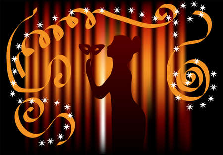 woman with a mask against the background of curtain Stock Vector - 15255273