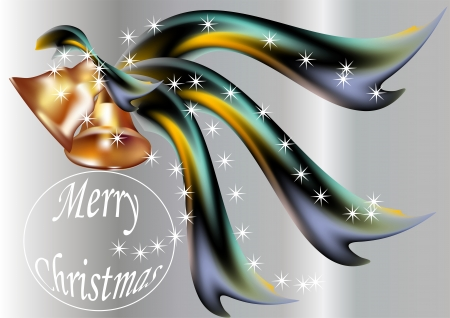 Merry Christmas  New Year background with bells and ribbons