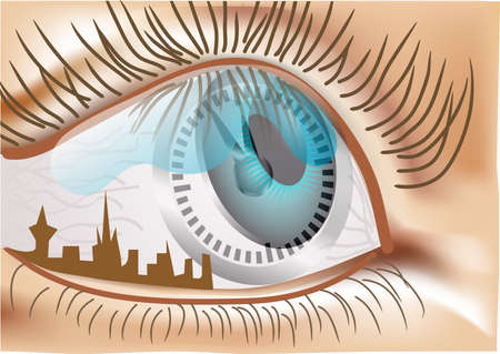 time is reflected in the eyes of the man Stock Vector - 15312651