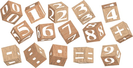 numbers on wooden cubes iolated on white background Stock Vector - 15329333