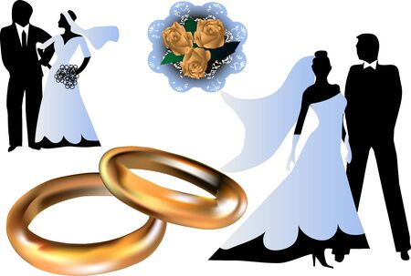 set of wedding silhouettes isolated on white background photo