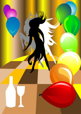 Women party  Silhouettes dancing women on a colorful background Stock Vector - 15355968