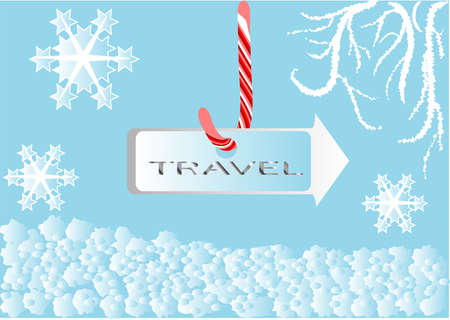 winter travel sing on the blue background Stock Vector - 15379167