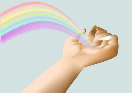 rainbow in the hand on the monochrome blue sky Stock Vector - 15545421