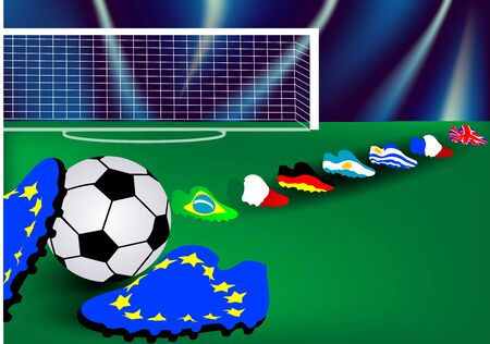 Football background with the flags of the leading football nations Stock Vector - 15560503