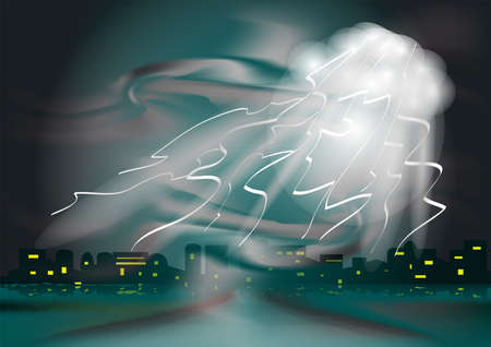 thunderstorm in the town  abstract dark background Stock Vector - 15687861