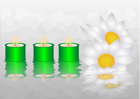 reflection in water  background with flowers and candles Stock Vector - 15687862