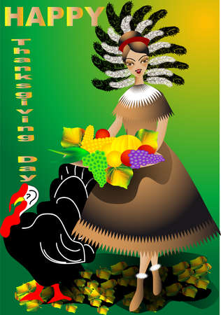 dinner party people: Thanksgiving Day  Festive background with turkey and harvest Illustration