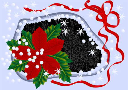 winter flower with ribbon, stars and snow Stock Vector - 15716668
