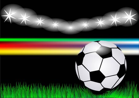 soccer background with grass, light  and ball