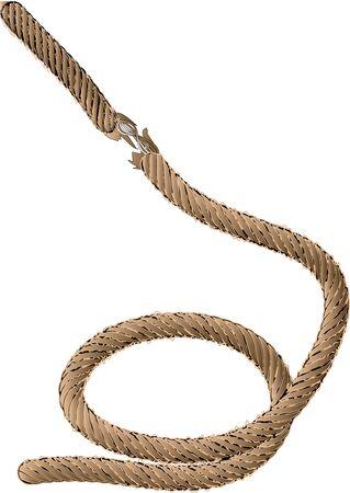 entwine: vecchia corda isolato su sfondo bianco