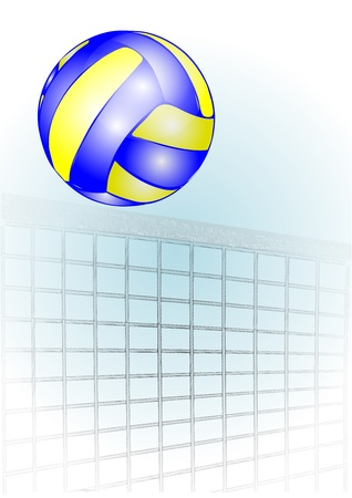 volleyball over the net against the sky Illustration