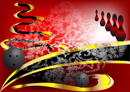 alleys: Christmas bowling  Red and gold abstract background Illustration