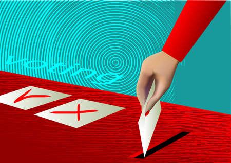 voting ballot: urnas de votaci�n y de la mano poniendo una papeleta en blanco dentro