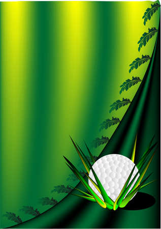 green background with a golf ball and leaves