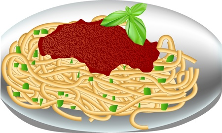 sauces:  plate of spaghetti with tomato sauce and basil Illustration