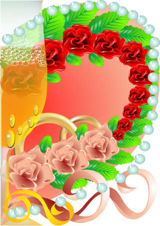 Wedding festive background with roses and hearts Vector