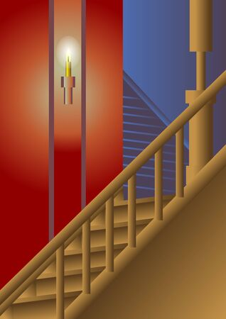 lighting column: stairway that illuminated by candle
