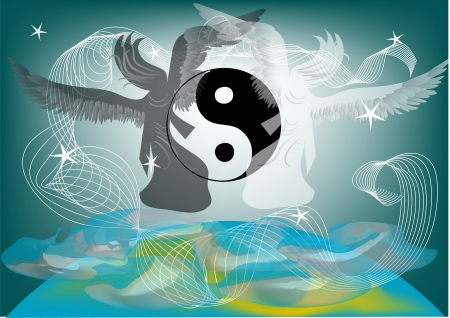 Yin and Yang symbol with the angels on the clouds Vector