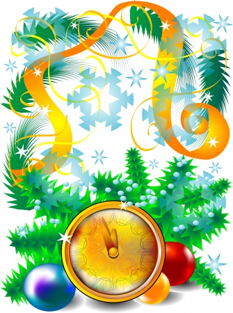 New Year background with clock and balls Stock Vector - 16081614