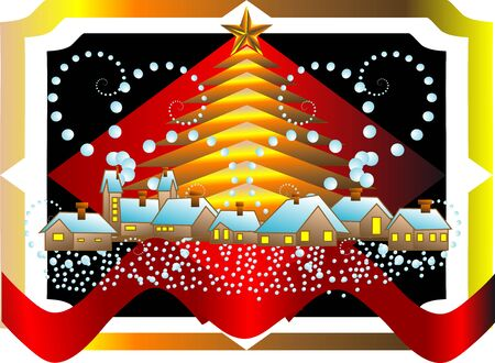 christmas icon with snow, decoration, city and tree Stock Vector - 16081615
