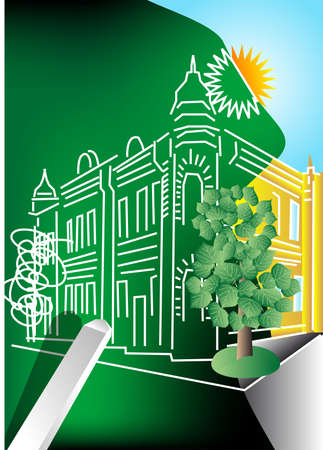 architectural project painted on a green blackboard Stock Vector - 16081616