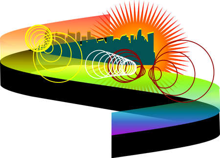abstract city with rainbow isolated on white Stock Vector - 16081618