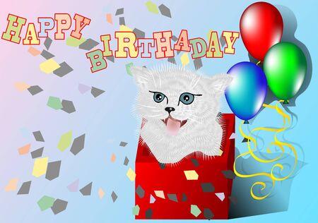 congratulation with kitten to the birthday Illustration
