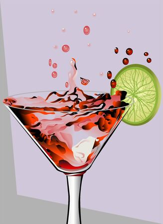 cosmopolitan: Red cocktail with splash and lime