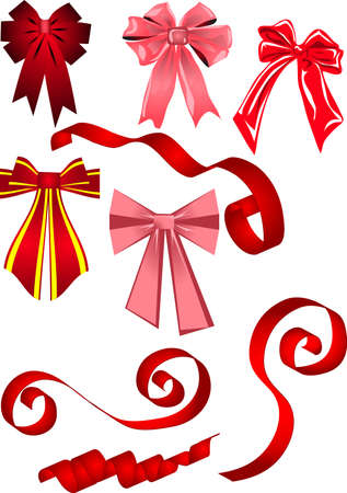 set of bows and ribbons isolated on white Stock Vector - 16260487