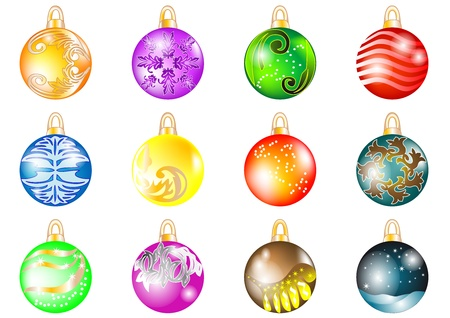 Set of Christmas balls isolated on white Stock Vector - 16260503