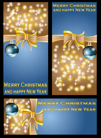 chrismas and new year banners with stars  Stock Vector - 16365078