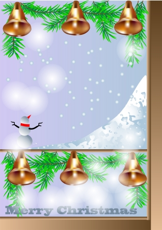 Christmas window with bells  View at the street Stock Vector - 16365109