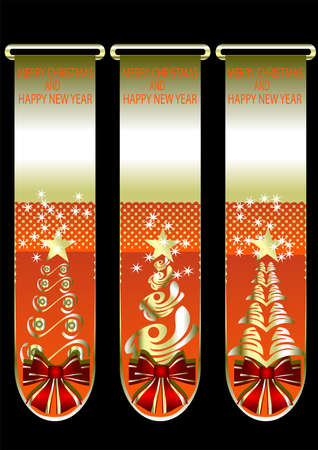 Banners with Christmas trees and gold stars Stock Vector - 16450495