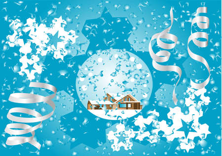 Blue Christmas fantasy with house and ribbons Stock Vector - 16471456
