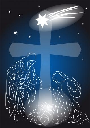 Baby Jesus  Nativity symbolic scene with Mary and Joseph Illustration