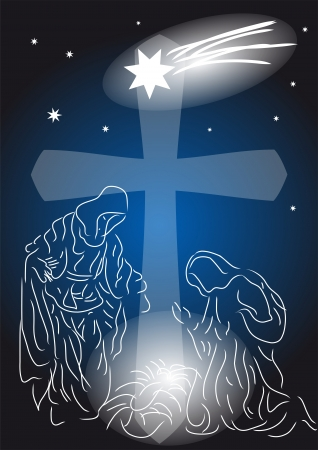 baby jesus: Baby Jesus  Nativity symbolic scene with Mary and Joseph Illustration