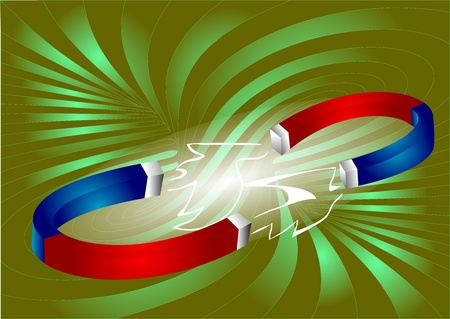 magnetize: two attracted magnets  abstract background  Illustration