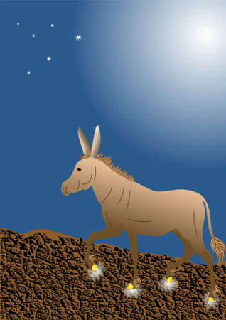 dun: donkey with golden hooves goes on a mountain road
